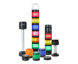 Various multi-colored light modules shown stacked and individually with black caps, alarm module and mounting bases