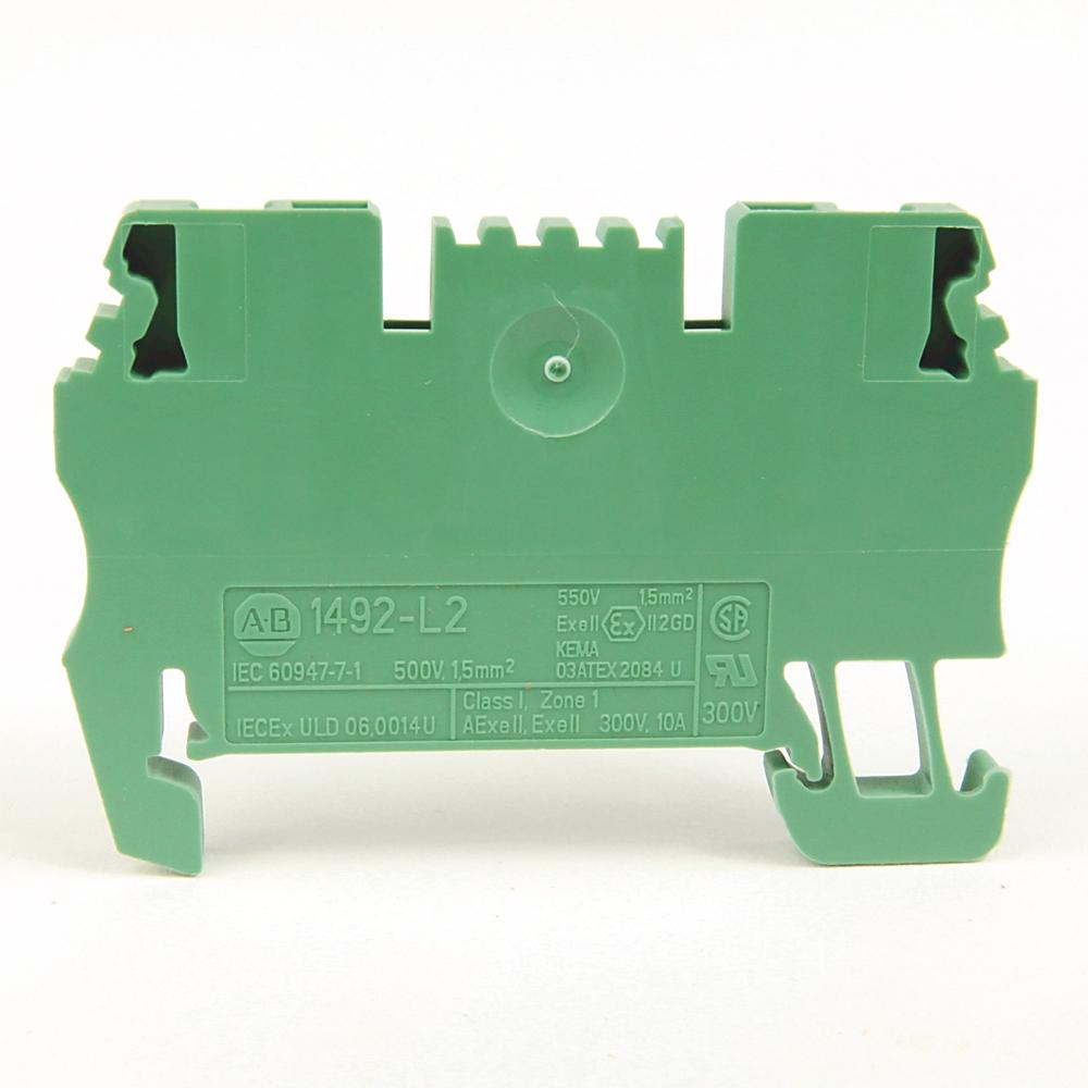 AB 1492-L2-G IEC Term Blck, Green3.5x51.5x29.5mm Spr Clp