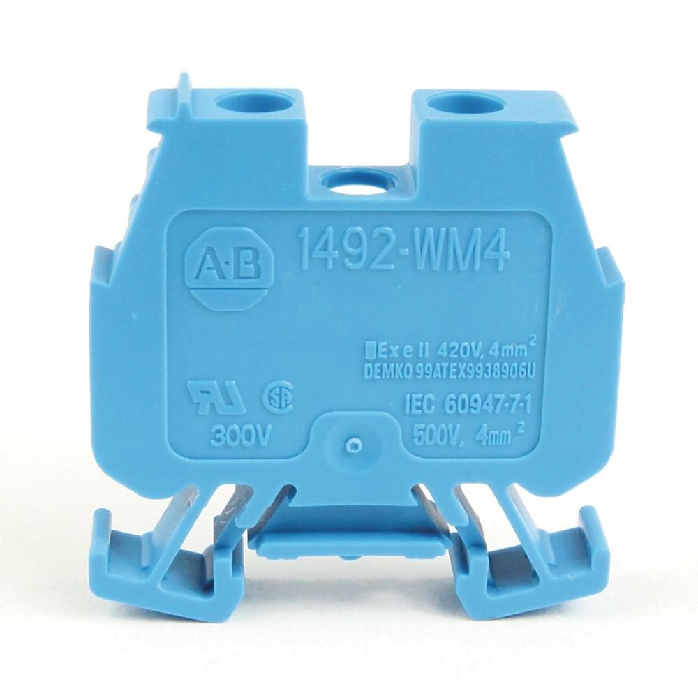 AB 1492-WM4-B IEC Single CircuitMiniature Block, StandardFeedthrough, 4mm max. wire,Blue,Pkg. Qty. of 50