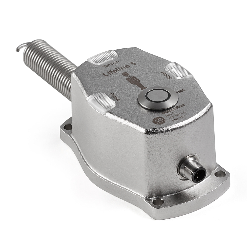 AB 440E-LL5SS8 Lifeline 5, SafetyCable Pull Switch, Stainless SteelHousing, M12 8-Pin, OSSD Contacts