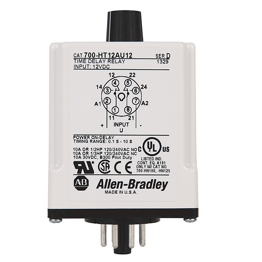 AB 700-HT22BU120 700-HT GeneralPurpose Tube Base Timing Relay, OffDelay Timer ,1.0 to 100 Seconds,DPDT ,120V AC/DC