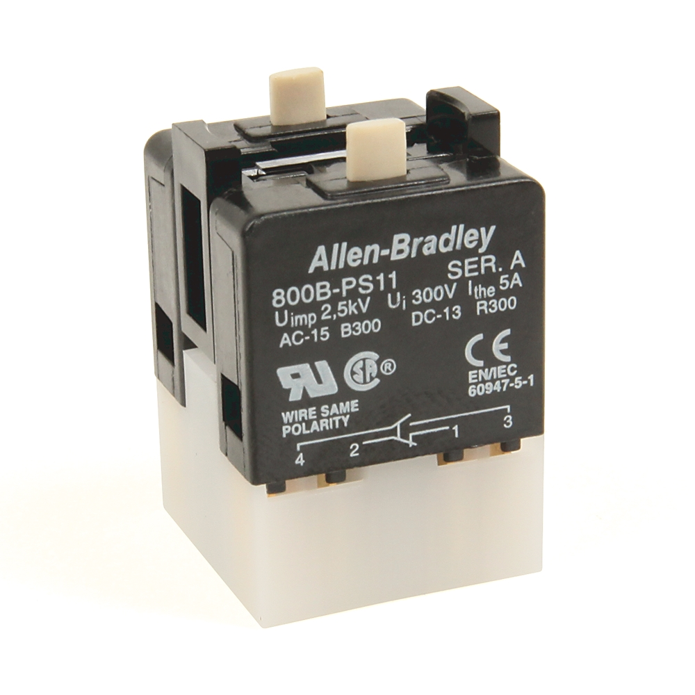 A-B 800B-PS22 800B 16 mm Push-Button Contact Block