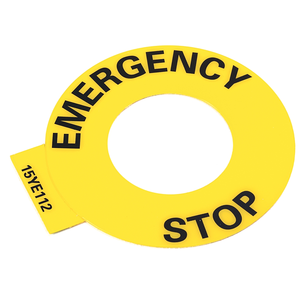 AB 800F-15YE112 800F Legend Plate60mm Round English: EMERGENCY STOPYellow with Black Legend Text30.5mm Opening