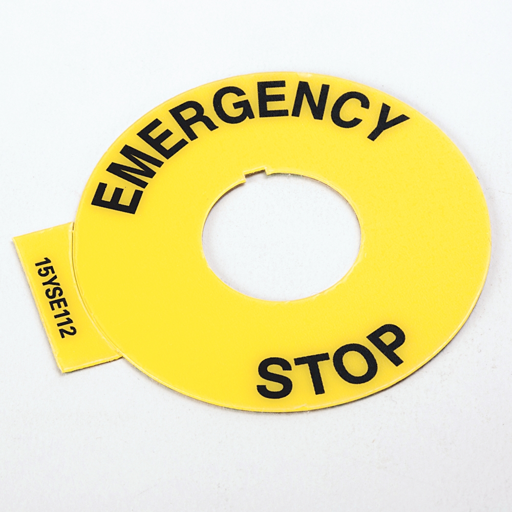 AB 800F-15YSE112 800F Legend Plate60mm Round English: EMERGENCY STOPYellow with Black Legend Text22.5mm Opening