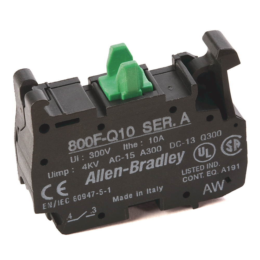 AB 800F-Q10 22.5mm PB No Latch,Spring-Clamp Contact Block, 1 N.O.