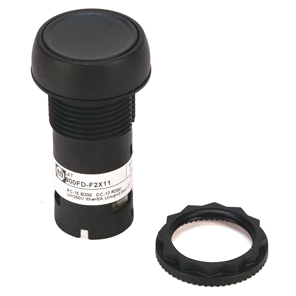 AB 800FD-F2X10 800F Push Button -Plastic Monolithic, Flush, Black,No Legend, Standard Pack (Qty. 1)