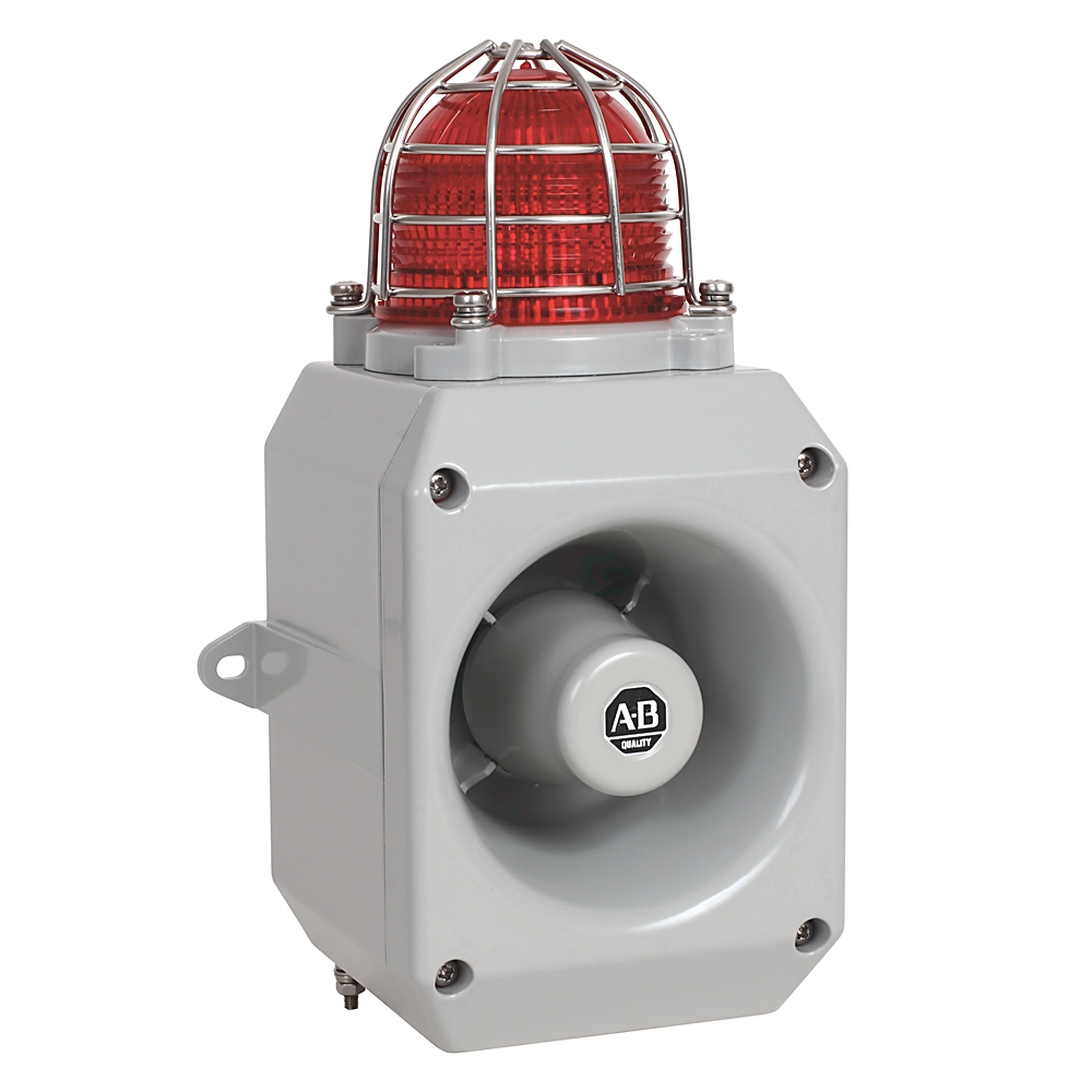 AB 855XM-CGMA10DA5 Haz Loc MetalHorn w/Beacon Gray Hsg ColorM20x1.5mm Cndt Entry 120vac 60HZ116dB O/P 5J Strobe Amber