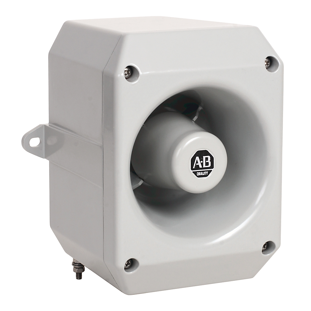 Rockwell Automation 855XM-HGMA10D Hazardous Location Horn, 116dB Output, 120V AC, 64 Tones, 4 Stages, GrayMetal Housing