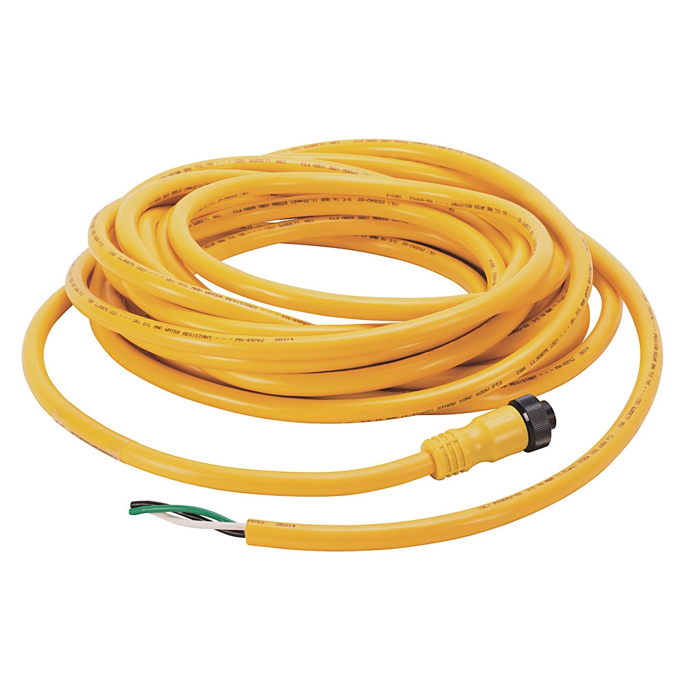 AB 889N-F3AFC-30F Cordset:Mini/Mini Plus, Female, Straight,3-Pin, PVC Cable, Yellow,Unshielded, 16AWG, US Color CodedNoConnector, 30 fee